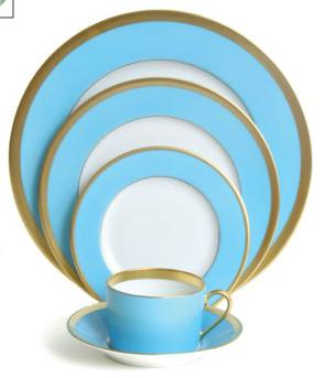 5 Piece LAQUE DE CHINE LIGHT BLUE GOLD by Haviland, Michael C. Fina $395