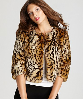 DKNY Cropped Leopard Faux Fur Jacket, bloomingdales.com $295