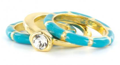 Turquoise_Enamel_Striped_And_Gold_Rhinestone_Rings
