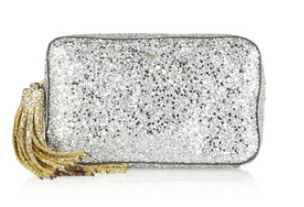 ANYA HINDMARCH Twinkle glitter-finished leather clutch, theoutnet.com $246