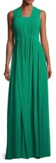 Badgley_Mischka_Sleeveless_Pleated_Gown__Emerald